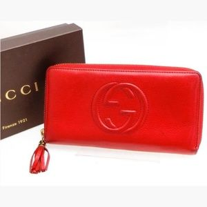 Gucci Zippy Wallet Soho 233780 Red Leather Clutch